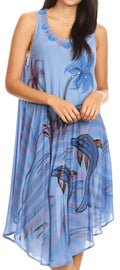 Sakkas Valentina Summer Casual Light Cover-up Caftan Dress with Tropical Print#color_Blue