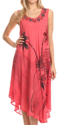 Sakkas Valentina Summer Casual Light Cover-up Caftan Dress with Tropical Print#color_Coral