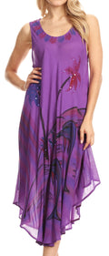 Sakkas Valentina Summer Casual Light Cover-up Caftan Dress with Tropical Print#color_Purple