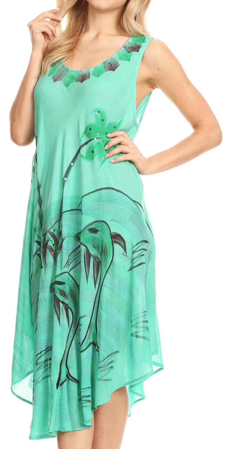 Sakkas Valentina Summer Casual Light Cover-up Caftan Dress with Tropical Print