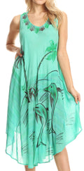 Sakkas Valentina Summer Casual Light Cover-up Caftan Dress with Tropical Print#color_Sea Green