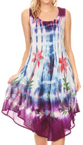 Sakkas Jimena Women's Tie Dye Sleeveless Caftan Dress Sundress Flare Floral Print#color_Blue / Purple