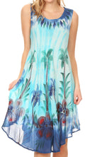 Sakkas Jimena Women's Tie Dye Sleeveless Caftan Dress Sundress Flare Floral Print#color_Blue / Turquoise