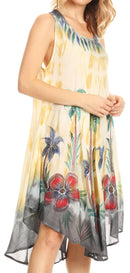 Sakkas Jimena Women's Tie Dye Sleeveless Caftan Dress Sundress Flare Floral Print