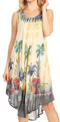 Sakkas Jimena Women's Tie Dye Sleeveless Caftan Dress Sundress Flare Floral Print#color_Charcoal/beige