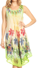Sakkas Jimena Women's Tie Dye Sleeveless Caftan Dress Sundress Flare Floral Print#color_Green/beige