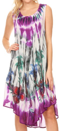 Sakkas Jimena Women's Tie Dye Sleeveless Caftan Dress Sundress Flare Floral Print#color_Grey