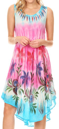 Sakkas Jimena Women's Tie Dye Sleeveless Caftan Dress Sundress Flare Floral Print#color_Turquoise / Pink