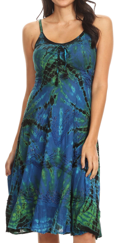 group-Blue (Sakkas Zoe Women's Summer Bohemian Spaghetti Strap Short Dress Tie Dye Embroidered)