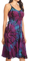 group-Purple (Sakkas Zoe Women's Summer Bohemian Spaghetti Strap Short Dress Tie Dye Embroidered)