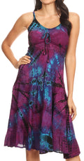 Sakkas Zoe Women's Summer Bohemian Spaghetti Strap Short Dress Tie Dye Embroidered#color_Purple