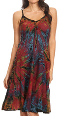 Sakkas Zoe Women's Summer Bohemian Spaghetti Strap Short Dress Tie Dye Embroidered#color_Red