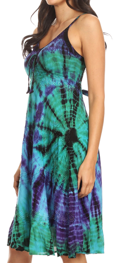group-Turquoise (Sakkas Zoe Women's Summer Bohemian Spaghetti Strap Short Dress Tie Dye Embroidered)