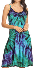Sakkas Zoe Women's Summer Bohemian Spaghetti Strap Short Dress Tie Dye Embroidered#color_Turquoise