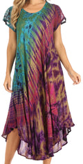 Sakkas Sofi Women's Short Sleeve Embroidered Tie Dye Caftan Tank Dress / Cover Up#color_Turq