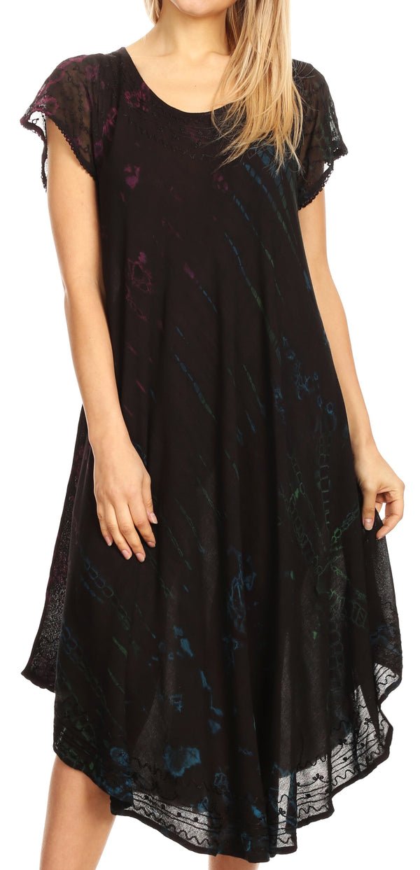 Sakkas Sofi Women's Short Sleeve Embroidered Tie Dye Caftan Tank Dress / Cover Up#color_Black