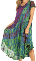 Sakkas Sofi Women's Short Sleeve Embroidered Tie Dye Caftan Tank Dress / Cover Up#color_Blue