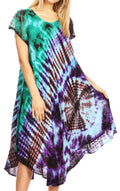 Sakkas Sofi Women's Short Sleeve Embroidered Tie Dye Caftan Tank Dress / Cover Up#color_Sky Blue