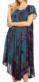 Sakkas Sofi Women's Short Sleeve Embroidered Tie Dye Caftan Tank Dress / Cover Up