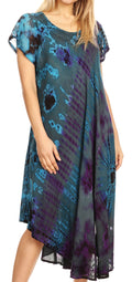 Sakkas Sofi Women's Short Sleeve Embroidered Tie Dye Caftan Tank Dress / Cover Up#color_Teal