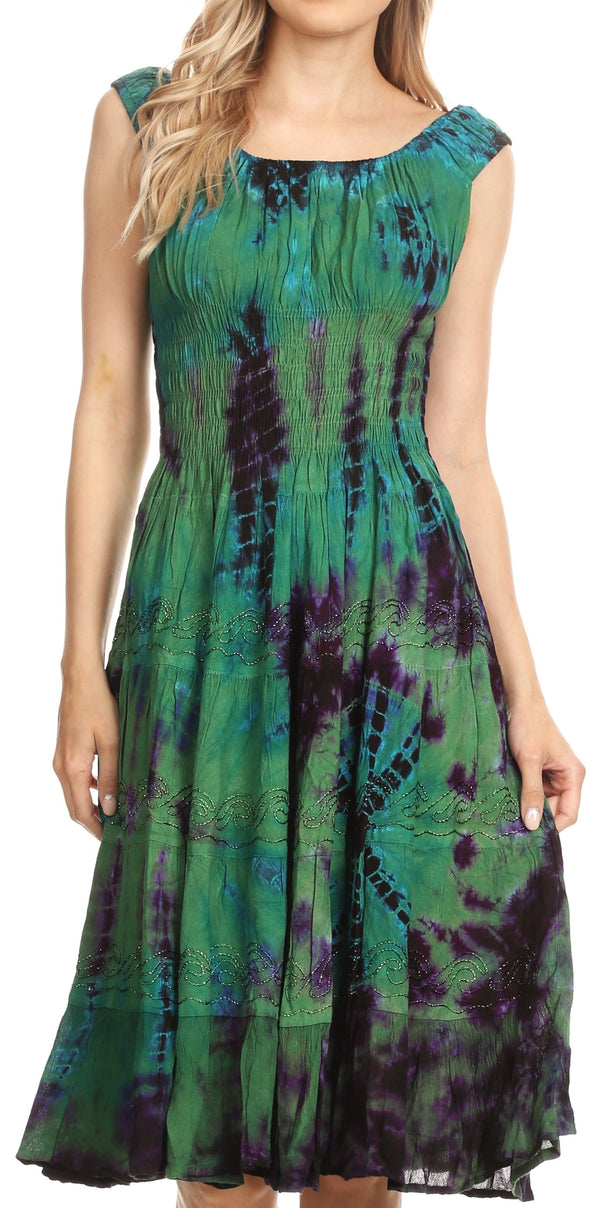 Sakkas Alba Women's Off The Shoulder Smock Ruffle Midi Dress Tie Dye & Embroidery#color_Green
