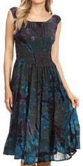 Sakkas Alba Women's Off The Shoulder Smock Ruffle Midi Dress Tie Dye & Embroidery#color_Grey