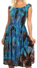 Sakkas Alba Women's Off The Shoulder Smock Ruffle Midi Dress Tie Dye & Embroidery#color_Navy / Turquoise