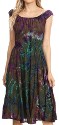 Sakkas Alba Women's Off The Shoulder Smock Ruffle Midi Dress Tie Dye & Embroidery#color_Olive
