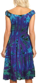 Sakkas Alba Women's Off The Shoulder Smock Ruffle Midi Dress Tie Dye & Embroidery