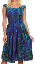 Sakkas Alba Women's Off The Shoulder Smock Ruffle Midi Dress Tie Dye & Embroidery#color_Purple / Turquoise