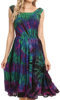 Sakkas Alba Women's Off The Shoulder Smock Ruffle Midi Dress Tie Dye & Embroidery#color_Raspberry