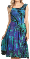 Sakkas Alba Women's Off The Shoulder Smock Ruffle Midi Dress Tie Dye & Embroidery#color_Royal Blue / Turquoise