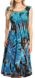 Sakkas Alba Women's Off The Shoulder Smock Ruffle Midi Dress Tie Dye & Embroidery#color_Turquoise