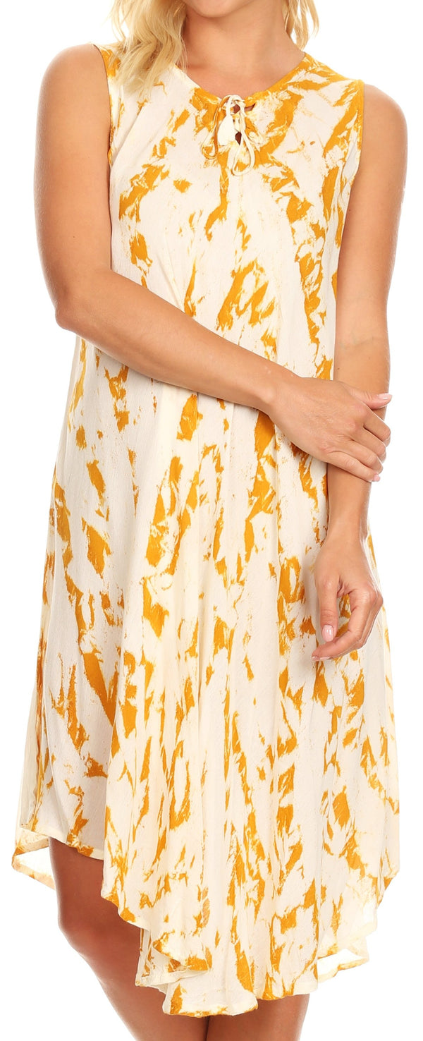 Sakkas Anni Women's Summer Casual Midi Sleeveless Loose Tie-dye Tank Sundress #color_Beige