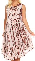 Sakkas Anni Women's Summer Casual Midi Sleeveless Loose Tie-dye Tank Sundress #color_Chocolate