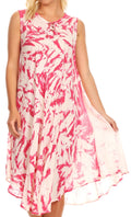 Sakkas Anni Women's Summer Casual Midi Sleeveless Loose Tie-dye Tank Sundress #color_Fuchsia