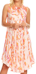 Sakkas Anni Women's Summer Casual Midi Sleeveless Loose Tie-dye Tank Sundress #color_Peach