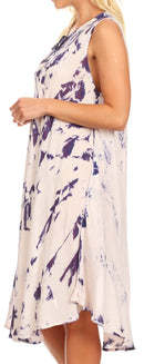 Sakkas Anni Women's Summer Casual Midi Sleeveless Loose Tie-dye Tank Sundress