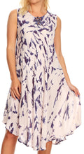 Sakkas Anni Women's Summer Casual Midi Sleeveless Loose Tie-dye Tank Sundress #color_Purple