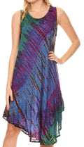 Sakkas Isola Women's Tank Summer Bohemian Swing Midi Dress Sleeveless Tie-dye#color_Blue