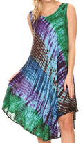Sakkas Isola Women's Tank Summer Bohemian Swing Midi Dress Sleeveless Tie-dye#color_Brown