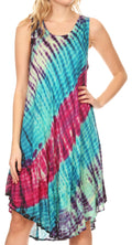 Sakkas Isola Women's Tank Summer Bohemian Swing Midi Dress Sleeveless Tie-dye#color_Pink