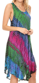 Sakkas Isola Women's Tank Summer Bohemian Swing Midi Dress Sleeveless Tie-dye