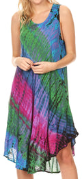 Sakkas Isola Women's Tank Summer Bohemian Swing Midi Dress Sleeveless Tie-dye#color_Purple