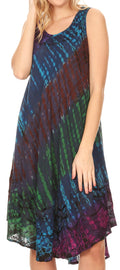 Sakkas Isola Women's Tank Summer Bohemian Swing Midi Dress Sleeveless Tie-dye#color_Teal