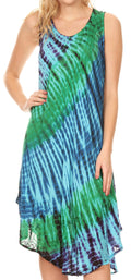 Sakkas Isola Women's Tank Summer Bohemian Swing Midi Dress Sleeveless Tie-dye#color_Turquoise