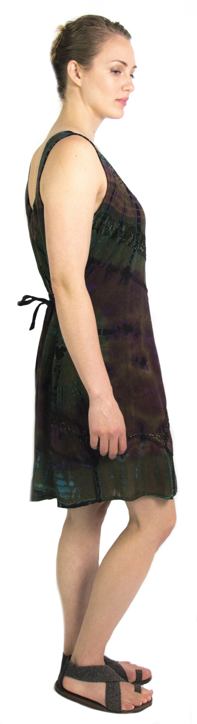 Sakkas Luciana Women's Tie Dye Bohemian Swing Midi Dress with Ties and Smock Back