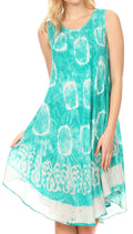 Sakkas Marlena Women's  Swing Sleeveless Tie Dye with Batik Nightgown Dress Cover#color_SeaGreen