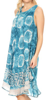 Sakkas Marlena Women's  Swing Sleeveless Tie Dye with Batik Nightgown Dress Cover