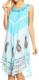 Sakkas Violeta Women's Tie Dye Paisley Caftan Midi Sleeveless Tank Dress  Cover Up
